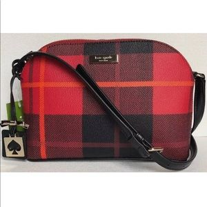Kate Spade Hanna Red Plaid Dome Crossbody Purse